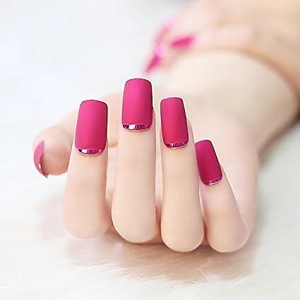 24pcs 12 diferentes tamaños rosa rojo mate Metal Manicura largo completo para uñas postizas con Metal