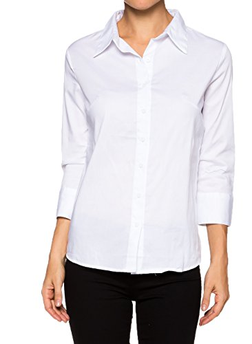 Cotton Classic Fitted Blouse - Apparel Sense A.S Classic Stretchy Cotton 3/4 Sleeve Button Down Y Shirts (Small, White)