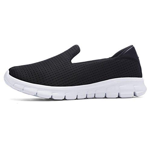 XLXM Women Slip OnSneakersLightweightWalkingShoesCasualLoafers (9.5, black)