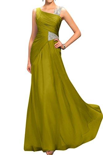 maniche linea per semplice Sunvary degli dell'abito senza una abito Verde da sera da sera oliva ospiti matrimonio sera xq005I