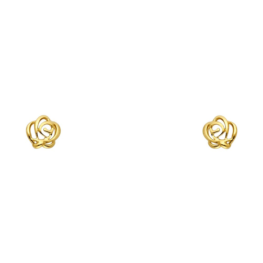 14k Yellow OR Rose Gold Flower Stud Earrings with Screw Back
