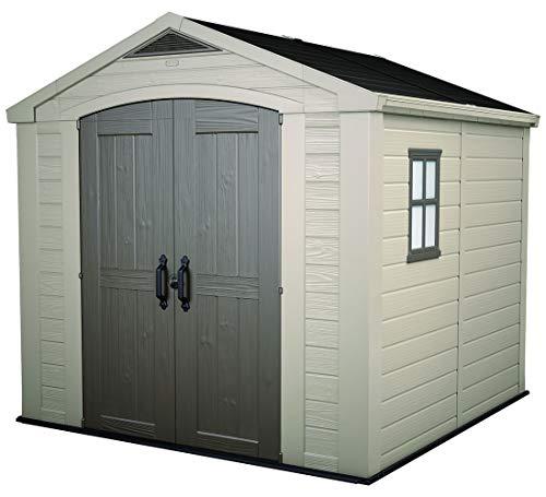 KETER 213563 Factor 8×8 Large Outdoor Storage Shed, Beige
