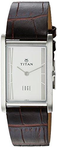 Titan Edge (Titan Men's 'Edge' Quartz Stainless Steel and Leather Casual Watch, Color:Black (Model: 1043SL12))