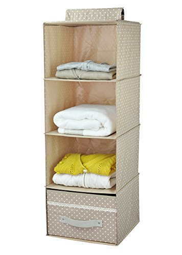 iwill CREATE PRO Collapsible Hanging Clothes Storage Shelves, Hanging Shoe Storage Bag for Closet, 4 Shelf, Separate Folding Drawer, Beige