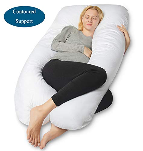 - QUEEN ROSE Pregnancy Pillow- U Shaped Full Body Pillow for Back Support with Cotton Cover,for Anyone,White