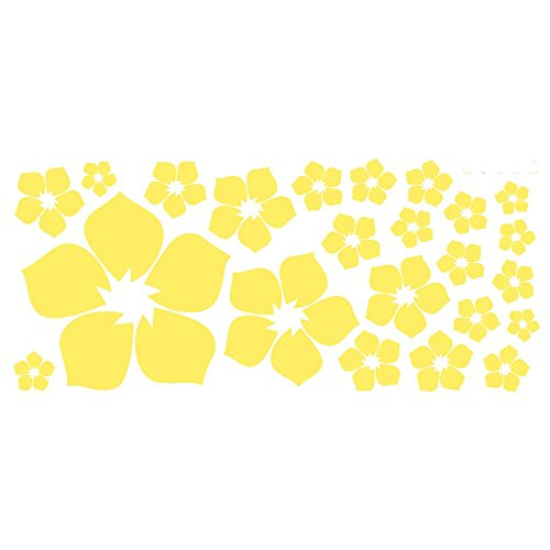 ufengke 23-Piece Small Flowers DIY Wall Decals, Living Room Bedroom Removable Wall Stickers Murals, Yellow