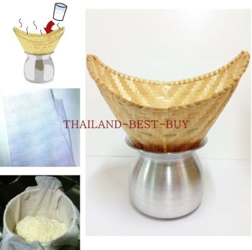 Set 3 =Thai Lao Pot+sticky Rice Steamer Basket Container Bamboo+white Cloth Cook
