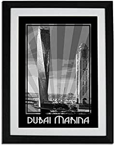 Dubai Marina- Black And White F01-m (a2) - Framed