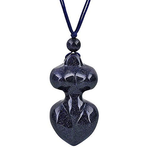 SUNYIK Blue Sand Stone Mother Earth Spiral Goddess Gaia Pendant Necklaces for Women Men,15
