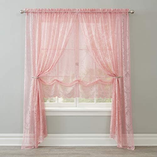 BrylaneHome Vintage Lace Rod-Pocket Panel Curtain – 56I W 95I L, Blush
