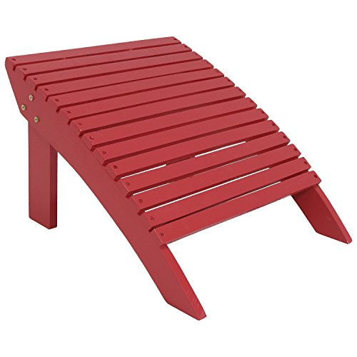 Sunnydaze Wooden Outdoor Adirondack Ottoman Footrest, Red