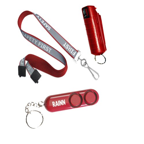 (College Safety Bundle: Safety First 36 Inch Reflective Lanyard, Wildfire 1.4 Percent MC 1/2 Ounce Key Chain Pepper Spray and Sabre Personal Alarm Bundle - Lot of 3 as Shown (Red))