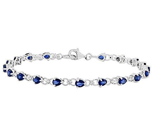 2heart 14K White Gold Plated Teardrop-Shaped Blue Sapphire & CZ Tennis Bracelet by 2heart