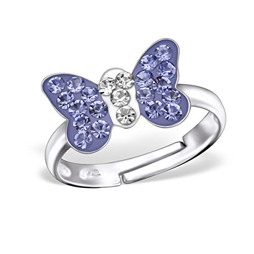 Childrens Butterfly Ring - Crystal Butterfly Ring Size Adjustable 3-4 Girls Sterling Silver 925 (28180 Tanzanite)