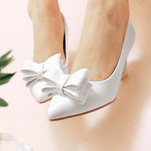 Latasa Womens Cute Bow Pointed-toe Mid-heel Wedge Pumps Shoes White CH5eRXE