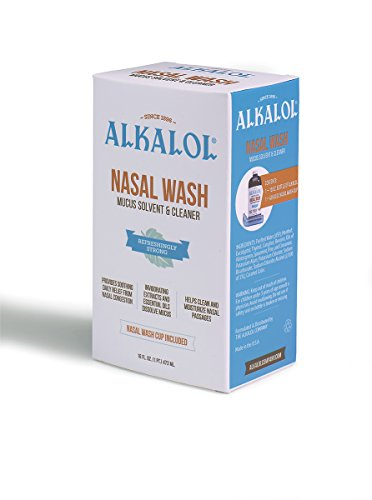 Alkalol - A Natural Soothing Nasal Wash, Mucus Solvent and Cleaner Kit -  with Cup, 16-oz