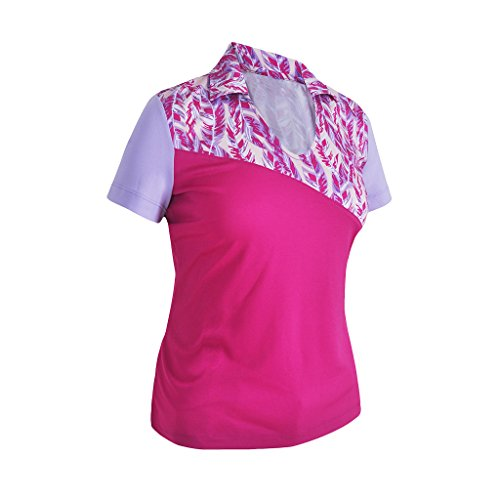 Monterey Club Ladies Dry Swing Feather Color Contrast Shirt #2374 (Very Berry/Pastel Lilac, 2X-Large)