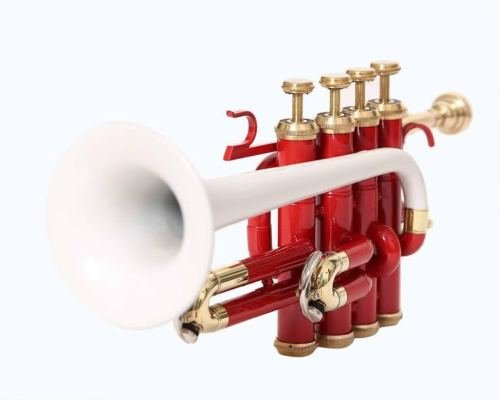 EDITION 2K18 PICCOLO TRUMPET Bb PITCH RED & WHITE COLORED WITH CASE AND MP by SAI MUSICAL
