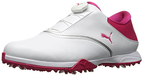 Puma Golf Women's PG Blaze DISC Golf Shoe, Puma White-Bright Rose, 9.5 Medium US