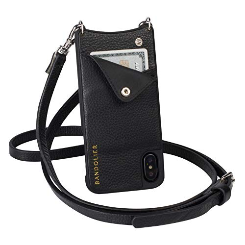 Bandolier Emma Crossbody Phone Case and Wallet - Black Leather with Silver Detail - Compatible with iPhone 8 Plus, 7 Plus, 6 Plus, 6s Plus Only