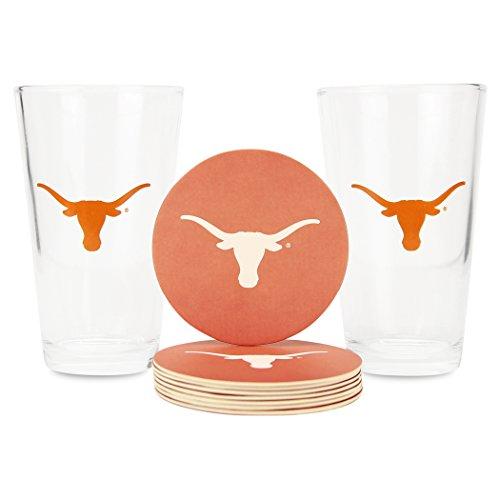 Memory Company NCAA Pint Glass and Coaster Set (2 Pack)(Texas (Texas Longhorns Coaster Set)