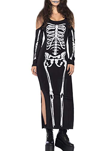 For G and PL Halloween Womens Cold Shoulder Skull Costume Party Bone Bodycon Maxi Dress Skeleton Black M -
