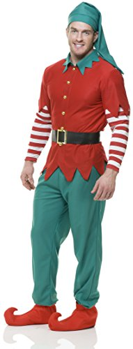 Charades Elf Top Pants Hat and Belt, red/Green, ()