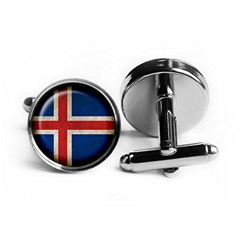 Iceland Icelandic Flag Silver Cufflinks