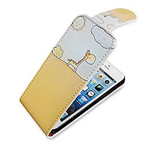 HP DF Cartoon Giraffe Up-Down Turn Over PU Leather Full Bady Case for iPhone 5/5S
