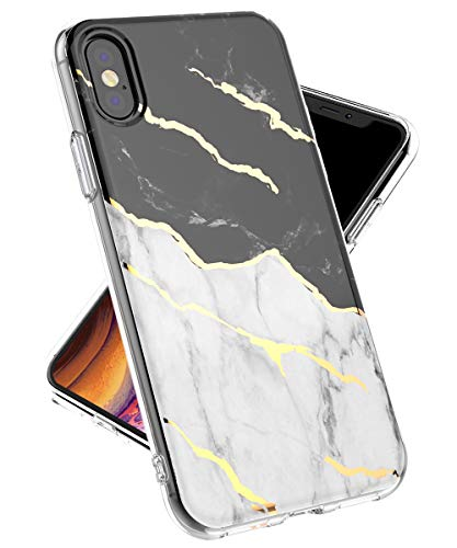 iPhone Xs Max Case, iPhone Xs Max Case for Girls Women,lovemecase Marble Design Clear Bumper TPU Soft Case Rubber Silicone Skin Cover for Apple iPhone Xs Max 2018(6.5inch)(White Black Marble)