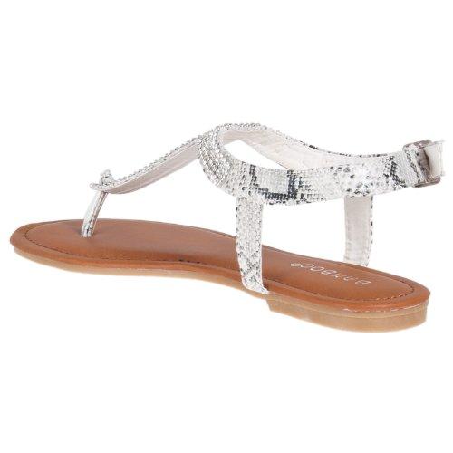 Sandali Con T-strap In Strass Da Donna Di Bambù Bianchi