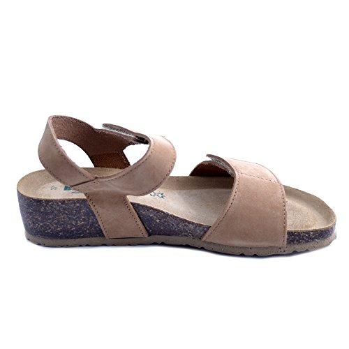 Doble marrón Hecho 37 para Cuero de Bionatura en Cierre en con Sandalias Mujer Italia No Gamuza Velcro de zHq1wA0