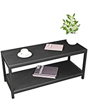 Soges 39.3inches Coffee Table Modern Style End Table 2 Tiers Console Table,TVST-100-BK-SG