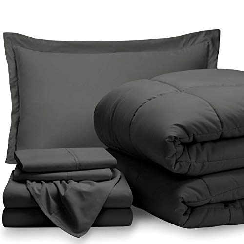 Bare Home Bed-in-A-Bag 5 Piece Comforter & Sheet Set – Twin Extra Long – Goose Down Alternative – Ultra-Soft 1800 Premium – Hypoallergenic – Breathable Bedding Set (Twin XL, Grey/Grey)