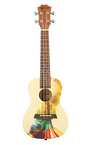 VIVICTORY Concert Ukulele 23 Inch Spruce Mahogany and Painting style with Beginner kit : Gig Bag,Tuner,Straps,Picks and Nylon String - Natural Color