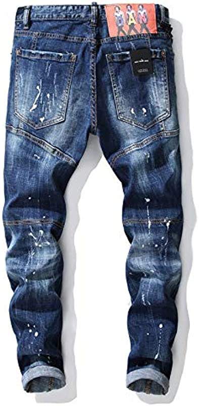 HOSD Autumn and Winter New Tattered Paint Stitching Men's Slim Jeans Europe and The United States small Straight Trousers: Odzież