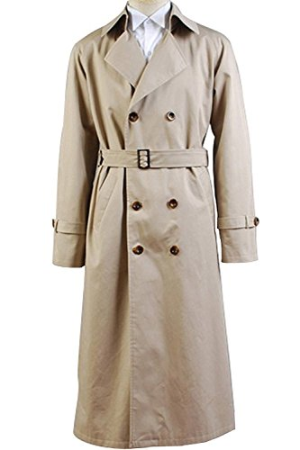 VOSTE Angel Castiel Costume Beige Trench Coat Jacket Halloween Cosplay for Men (Small, Men Jacket) by VOSTE (Image #1)