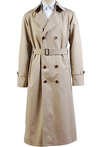 VOSTE Angel Castiel Costume Beige Trench Coat Jacket Halloween Cosplay for Men (Small, Men Jacket) by VOSTE