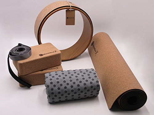 Ultimate Natural Cork & Rubber 8 Piece Yoga Set | Beginner to Pro, Everything You Need, Eco-Friendly Natural Cork & Rubber Design Mat, 2 Cork Blocks, Cork Yoga Wheel, Towel, Strap, More. by Mandelbrot Yoga X
