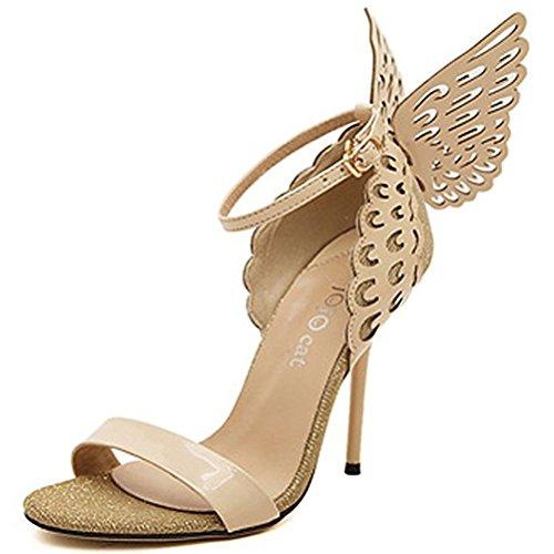 Donalworld Women Strap Butterfly Wings Pump High Heel Open Toe Princess Ankle Sandals Lpurple Asia Size 40 ()