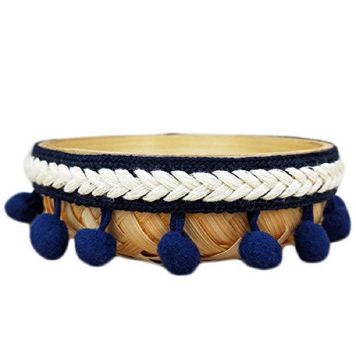 Yalulu 5 Yards Embroidered Trim Ribbon Pompom Trim Fringe Ribbon Pom Pom Crafts Lace DIY Sewing Accessories Decoration Supplies (Navy Blue)