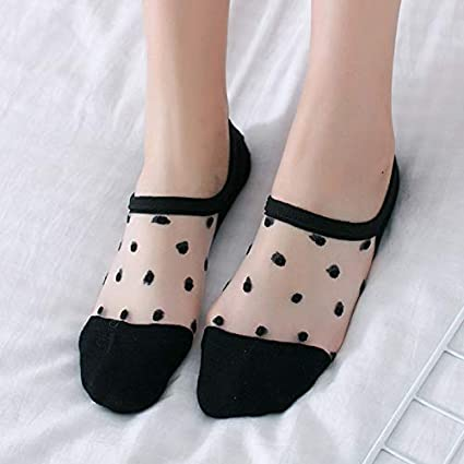 Gold Happy Transparent Lace Women Socks Cute Dot Girls Invisible Low Cut Short Ankle Sock Woman