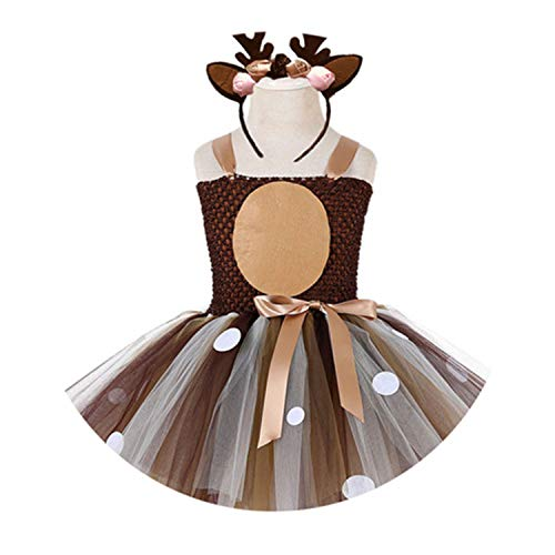 Olive dresses Christmas Deer Tutu Dress Baby Girls 1St Birthday Party Dress Children Thanksgiving Purim Day Autumn
