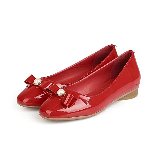 Red with Round Pumps and Solid Bowknot Low Toe Cow AllhqFashion Womens Bead Closed Heels Leather xwvz6Zq