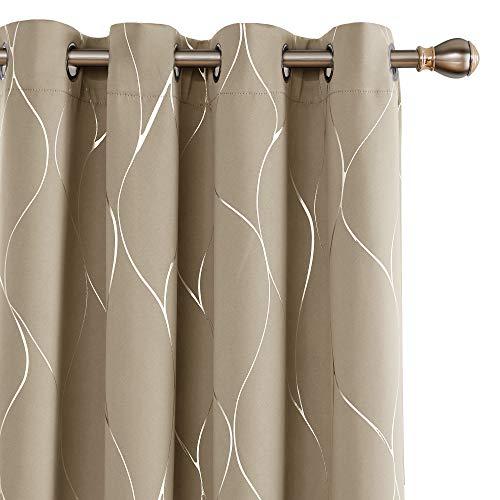 Deconovo Silver Wave Foil Print Blackout Curtains Grommet Light Blocking Curtain Room Darkening Noise Reducing Window… 1