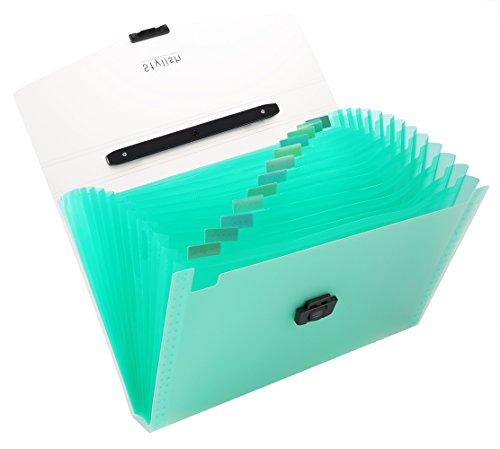 Snail&Hawk 13-Pockets Poly Accordion File-Folder Organizer with Handle,A4 Size,Buckle Closure (Green)