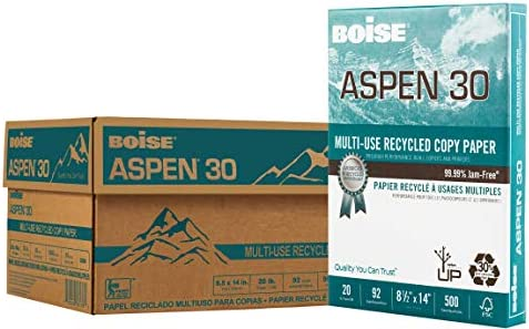 "BOISE ASPEN 30% Recycled Multi-Use Copy Paper, 8.5"" x 14"" Legal, 92 Bright White, 20 lb, 10 Ream Carton (5,000 Sheets)"