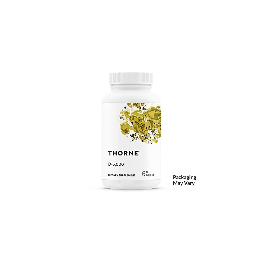 Thorne Research Vitamin D 5000 Vitamin D3 Supplement (5,000 IU) for Healthy Bones and Muscles NSF Certified for Sport 60 Capsules