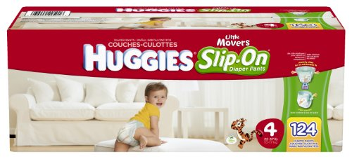 Huggies Little Movers Slip-On Diapers, Size 4, 124 Count by HUGGIES