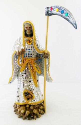 (14 Inch Statue of La Santa Muerte Blanca Holy Death Grim Reaper White Imagen)